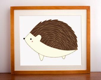 Hedgehog Wall Art, Hedgehog Wall Print, Hedgehog Illustration, Hedgehog Nursery Art, Farmhouse Decor, Home Decor, Hedgehog Picture