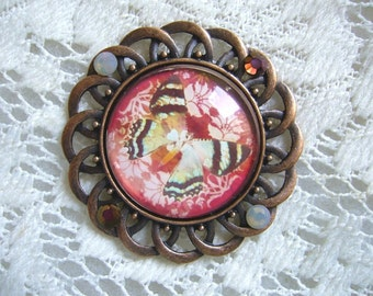 Antique Red With Butterfly Pendant Free Shipping in USA