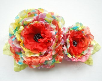 colorful poppies flowers, bridal flower corsage, sash, weddings accessory, bridal hair flower, bridesmaids hair clip, flower girl, fall