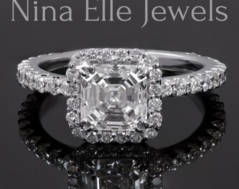 2.00ctw Asscher cut low set diamond engagement ring A26