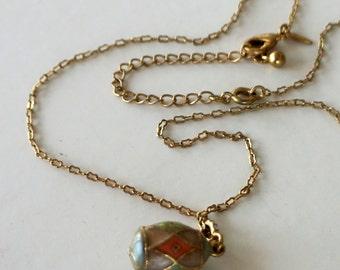 Vintage Necklace Avon Enamel Easter Egg Pink Mint Green 1988