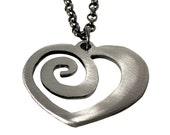 Metal Spiral Heart Charm on Gunmetal Chain / WATTO Distinctive Metal Wear / Bridesmaid Gifts / Anniversary / Gift for Her / Spiral Heart