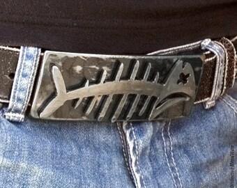 Large Fishbone Buckle/ Distressed Metal Fishbone Belt Buckle