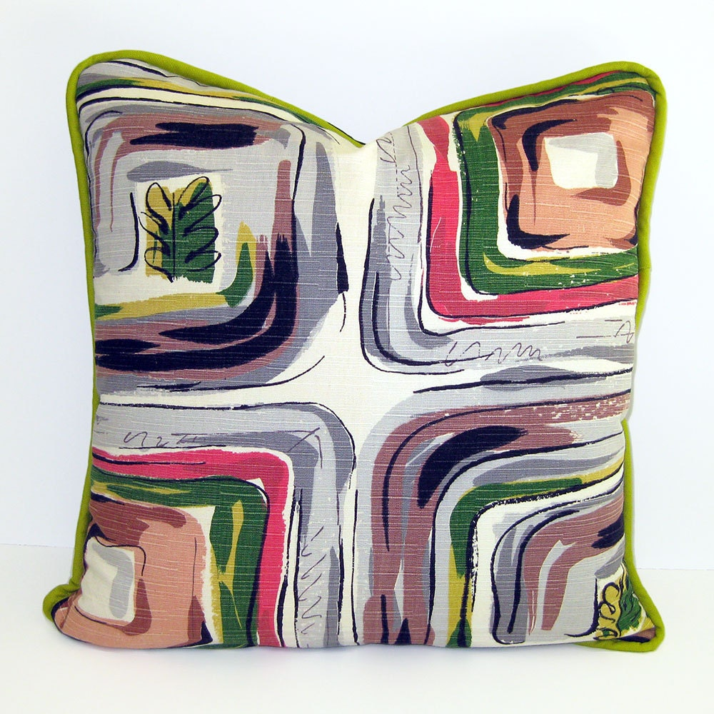 Mid Century Modern Vintage Fabric Throw Pillow with by pillocraft