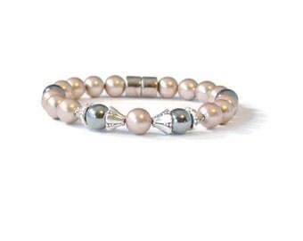Bronze/Black Magnetic Hematite Therapy Bracelet, Health Jewelry, Arthritis Jewelry