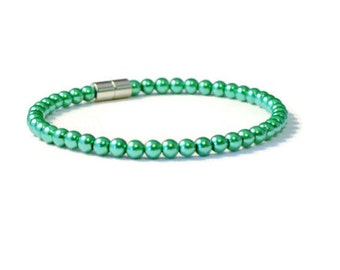 Emerald Magnetic Hematite Therapy Bracelet, Arthritis Pain Relief Jewelry