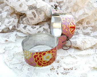 upcycled tin hoop earrings assemblage pink floral rustic eco friendly jewelry cottage chic