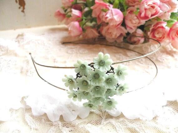 shabby vintage flower headband spring fresh mint green assemblage garden party