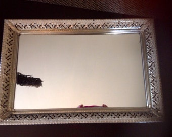 Vintage Gold Filagree Dresser Mirrored Tray