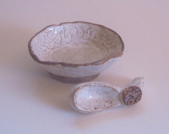 Little White Stoneware Table Salt Cellar and Spoon