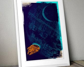 Star Wars Inspired Print (DEATH STAR GETAWAY) A3