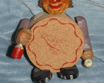 Vintage ANRI Carved Wood BOTTLE OPENER and Coasters
