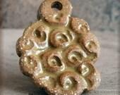 Handmade Ceramic Pendant Seashell texture in Mustard Yellow