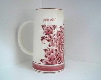 Vintage Serving Delft Red Amstel Tankard Mug Collectible Holland