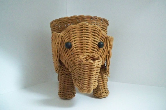 Https Www Etsy Com Listing 174042643 Vintage Home Decor Wicker Elephant