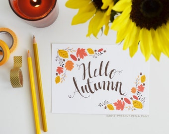 Hello Autumn, Happy Fall, Seasonal Decor, Give Thanks, Illustration, Thanksgiving, Pumpkins, Sunflowers, Fall Decoration, Art Print, leaves