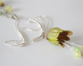 Wire Butterfly necklace, Hand Painted flower necklace, Spring Jewelry from Nature