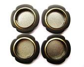 Japanese Door Pulls - Sliding Door Pulls - Pocket Door Pulls - Japanese Vintage Door Pulls -  Flowers Gold Black B20 Small Sizes