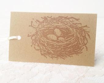 Bird Nest Kraft Tags Baby Shower Set of 50