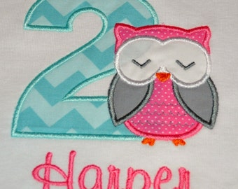 Birthday Girl Outfit - Personalized Second Birthday Owl Appliqued T-shirt, Sizes 2T or 3T