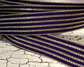 "3 yards 7/8"" Metallic Gold and PURPLE LSU Stripe Grosgrain Ribbon"