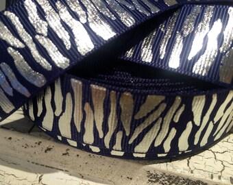 "1"" Silver Metallic Foil Zebra on Indigo BLUE Grosgrain ribbon sold by the yard"