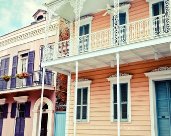 "New Orleans Photograph, ""French Quarter houses"" Travel Photography, urban, Colorful Pastel Houses, architecture, NOLA"