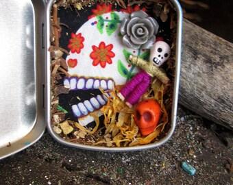 Rita's Sugar Skull Ritual Curio Pocket Shrine - Day of the Dead, Honor Your Ancestors