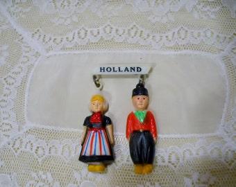 Vintage Pin Brooch Souvenir Rubber Doll Holland Dutch People Mid Century