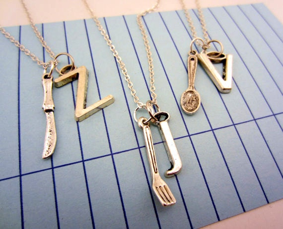 Friendship necklaces, best friend gift. Silver fork, spoon and knife necklaces with initial charms. Cutlery jewelry. Foodie gift.