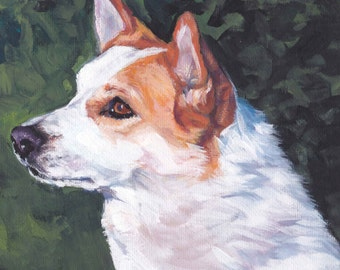 Norrbottenspets nordic spitz CANVAS print of LA Shepard painting 8x8