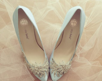 Something Blue Wedding Shoes with Crystal Vine Applique Beading Embellishment Satin Bridal Pumps, Bella Belle DAWN