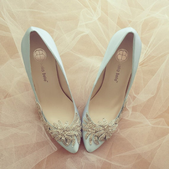 Something Blue Wedding Shoes With Crystal Vine Applique