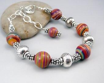 Malachite Bracelet, Unique Bracelets, Malachite Beads, Malachite Jewelry, Rainbow Bracelet, Jewelry Gift Under 30, Adjustable Bracelet