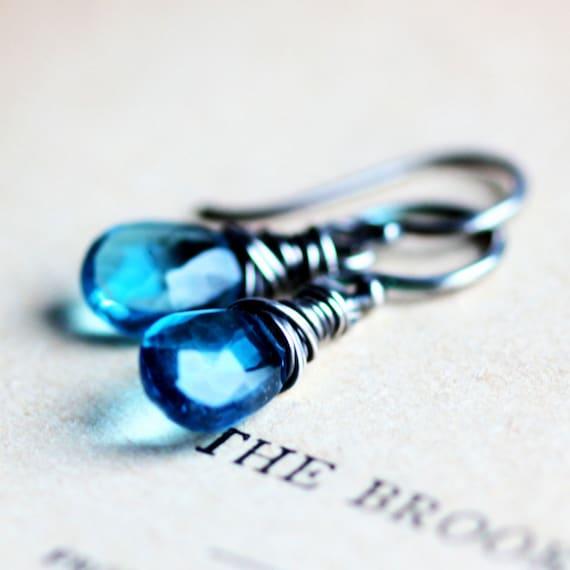 December Birthstone Swiss Blue Topaz Earrings on Sterling Silver - Bellatrix - Winter Fashion Luxury Gift