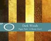 Dark Woods Set of 6 PRINTABLE Digital Papers 12x12 Digital Download