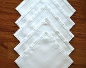 NAPKINS Replacement Tablecloth Napkin Set 5 WHITE Sleek Hemstitched Fine Linen