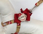 Quick and Comfy Sock Monkey Step In Dog Harness Size XS through Medium by Doogie Couture