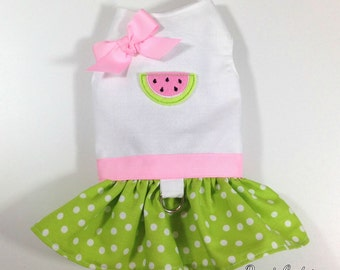Watermelon Sweetness Dog Dress Harness Size XXXS through MEDIUM by Doogie Couture
