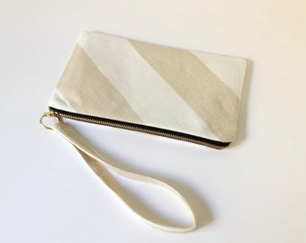 Linen Pouch, Clutch, Wristlet, Zipper Pouch Beige and White Striped