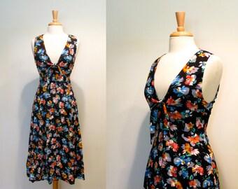 Vintage Black Floral Plunging V-Neck Sundress