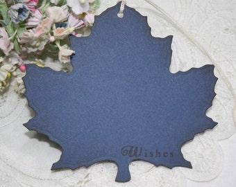 Wish Tree Wedding Tags - Autumn Leaf Shape - Bridal Shower Wish Tags - Navy Blue - Set of 25