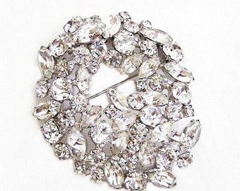 Sherman Signed Large Crystal Clear Brooch