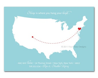 Moving Announcement, New Address, New Home, Just Moved, Printable Photo Card - Home is Where You Hang Your Heart (No. 15008)