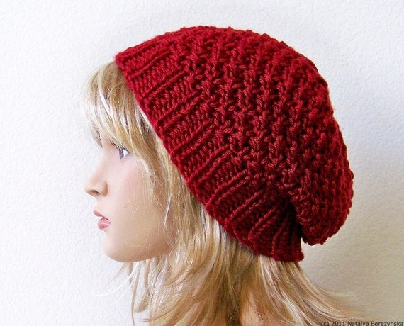 Knitting Patterns Hats, Knit Hat Pattern, Slouchy Beanie Pattern, Slouchy Hat Pattern Knit Beanie Pattern Spring Hat Chunky Knitting Pattern
