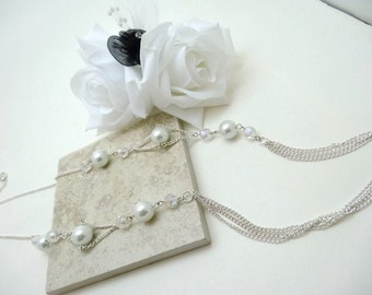 White pearls n chains necklace