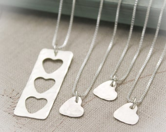SALE Mother Daughter Grandmother Granddaughter Heart Personalized Necklace Set, Heart Necklace Lace, Sterling Silver Jewelry