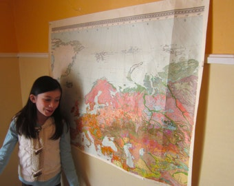 Vintage 1970s Colorful Map of Russia in Russian Geography