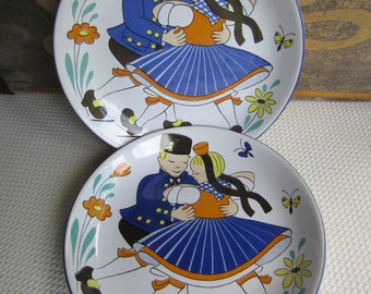 Vintage German Folk Dancing Couple Ceramic Plates by Waechtersbach West Germany
