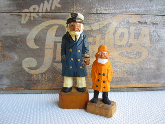 Vintage Captain Sea Captain Admiral Sailor Nautical Folk Wood